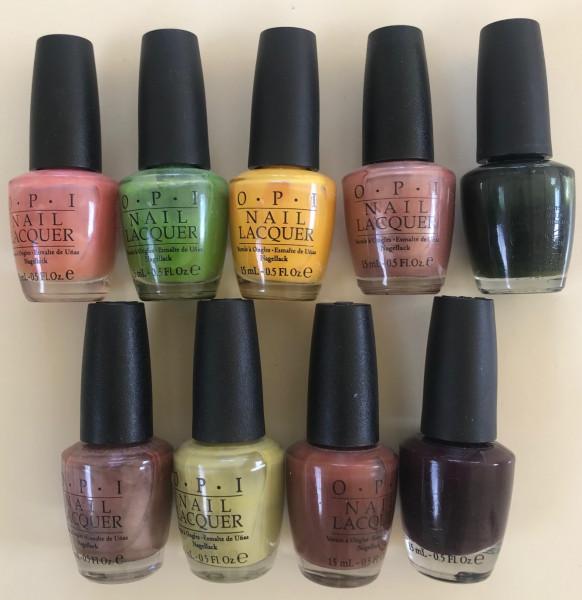 OPI Nagellack Farbset mit 9 verschiedenen, gedämpften Farben