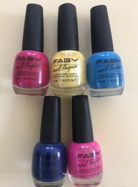 FABY Nagellack Farbset mit 5 verschiedenen Farben, a 15ml